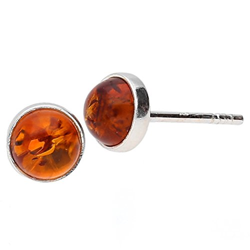 KAB COGNAC BALTIC AMBER STERLING SILVER 925 STUD EARRINGS 5mm 3 B