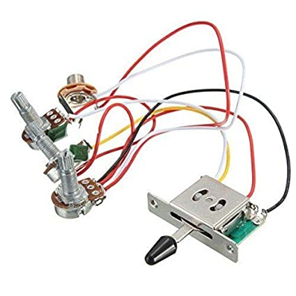 amazon com: fidgetgear 5way switch + 500k pots + knobs wiring harness for strat  stratocaster guitar: musical instruments