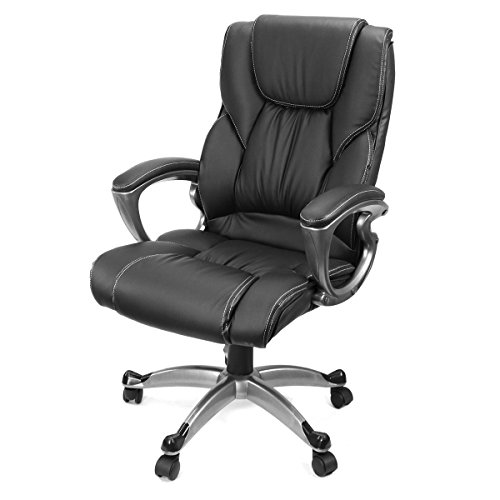 AK Energy Black PU Leather High Back Office Chair Executive Task Ergonomic Swivel 330lbs Capacity Load