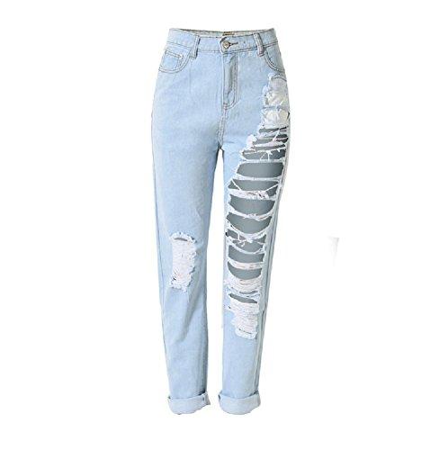 Cotone Strappati Skinny Jeans Blu Homieco™ Sbiadito Donne Distrutti Pantaloni aHw4gxq4