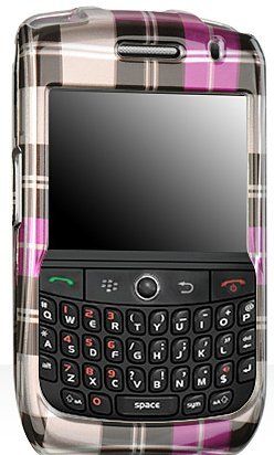 Burbbery Checkbox Checkered Hot Pink with Brown Snap-On Cover Case Cell Phone Protector for Blackberry 8900 Curve Javelin - Cover Blackberry Javelin