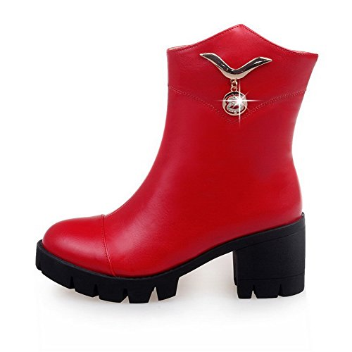 AgooLar PU Charms with Kitten Women's Low Toe Red Round Boots Solid Top Heels Closed rxr7qpPwz