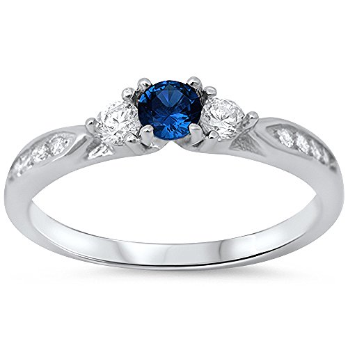 Ring Promise Sapphire (Simulated Sapphire & Cubic Zirconia Fashion Promise .925 Sterling Silver Ring Size 7)