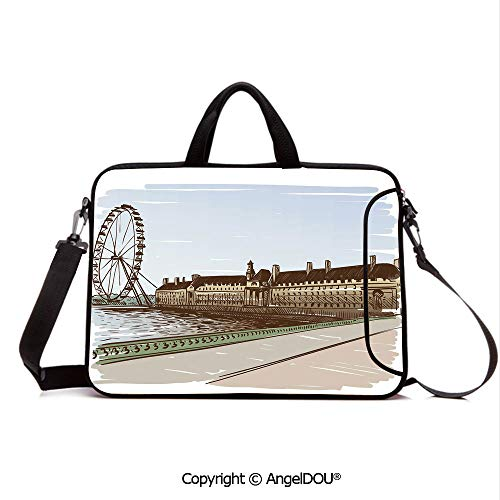 (AngelDOU Customized Neoprene Printed Laptop Bag Notebook Handbag Buckingham Palace Historical Building Thames River Ferris Wheel Pencil Drawing A Compatible with mac air mi pro/Lenovo/asus/acer M)