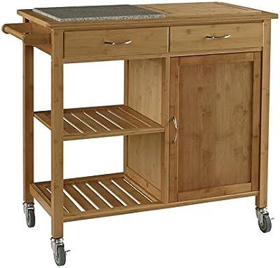 Linon Rebekah Bamboo Kitchen Cart