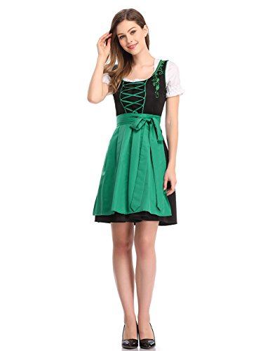 - Clearlove Limited Traditional Dirndl Women Dresses Blouse Apron (Green and Black, XXL)
