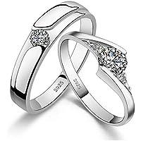 925 Sterling Silver Shining Diamond Wedding Gift Love Couple Ring Set cr1