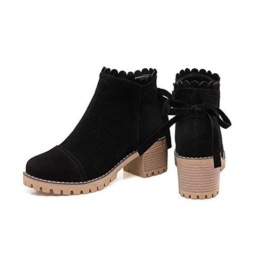AgooLar Women's Cotton Solid Zipper Round-Toe Kitten-Heels Boots Black 9fOUnLg