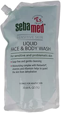 Sebamed Liquid Face and Body Wash Refill Bag for Sensitive and Delicate Skin pH 5.5 Ultra Mild Dermatologist Recommended Cleanser 33.8 Fluid Ounces (1 Liter Pouch)