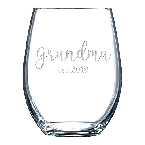 Gift for Grandma Est. 2019 Stemless Wine Glass for New ()