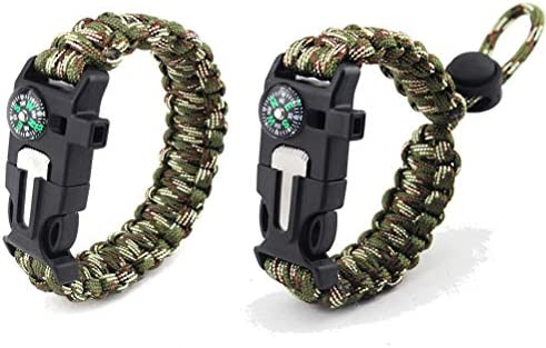 MUCHEN SHOP Pulsera Paracord Supervivencia,2 Pack Multiusos ...