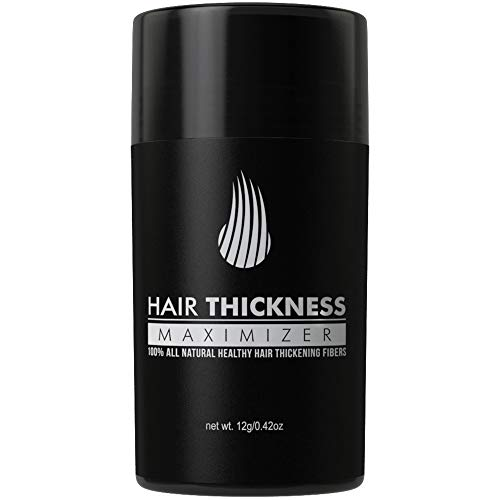Hair Thickness Maximizer 2.0 - Safer Than Keratin Hair Building Fibers with 2nd Gen All Natural Plant Based Hair Loss Concealing Fillers for Instant Thickening of Thinning or Balding Hair (Dark Brown) (Best Hair Loss Fibers)
