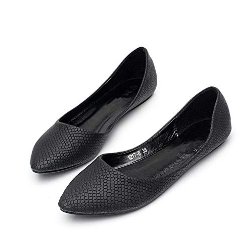 Black shoes FLYRCX ladies Pointed work flat mouth shoes simple single shoes color matte shallow qrOq7afxwF