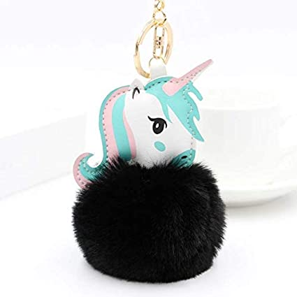 Amazon.com: Key Chains - Pompom Unicorn Keychain Rabbit Fur ...