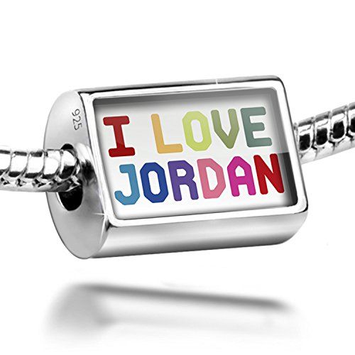 Sterling Silver Charm I Love Jordan ,Colorful - Bead Fit All European Bracelets by NEONBLOND