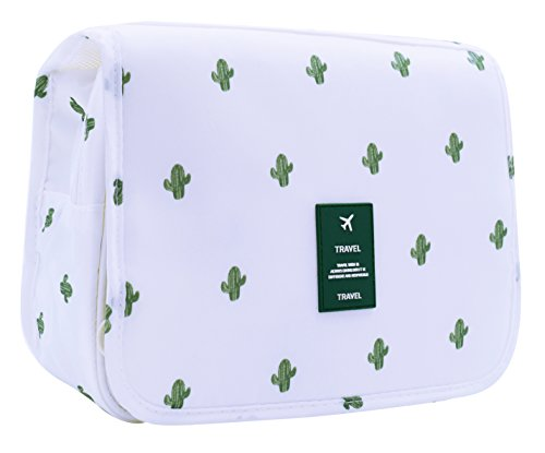 Cactus Portable Hanging Toiletry Makeup Bag - Travel Organizer Cosmetic Bag Case for Women Men Kit with Hook for vacation ()