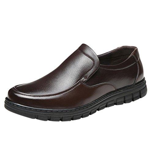Affari Mocassini Comode Scarpe Casuale PU Loafers Tonda Punta Yiiquan Pelle Marrone Traspirante Scarpe Uomo Basso 0WpqAnvwE