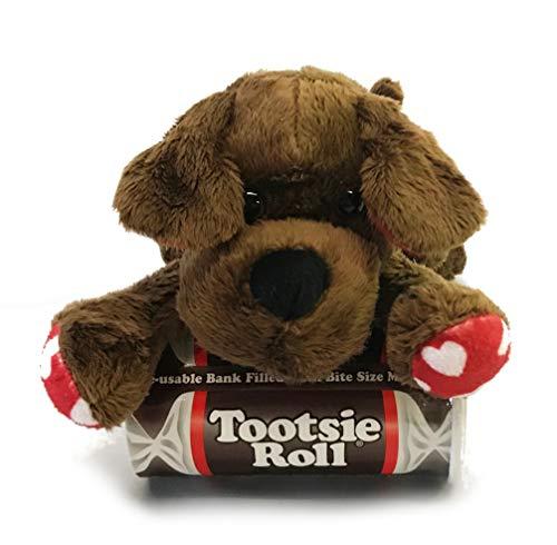 - Valentines Gift Candy Tower - Valentine's Day Stuffed Animal & Candy - Stuffed Animal With Tower Of Chocolate Candies (Puppy Love - Tootsie Rolls)