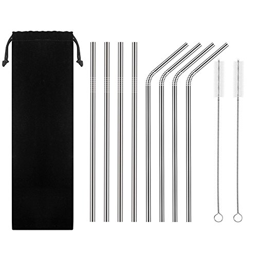 Set of 8 Reusable Stainless Steel Straws,ECO-Friendly Extra Long 10.5 Metal Drinking Straw with 2 Brushes and Carry Bag for Yeti,RTIC,Ozark Tumbler Cold Beverage