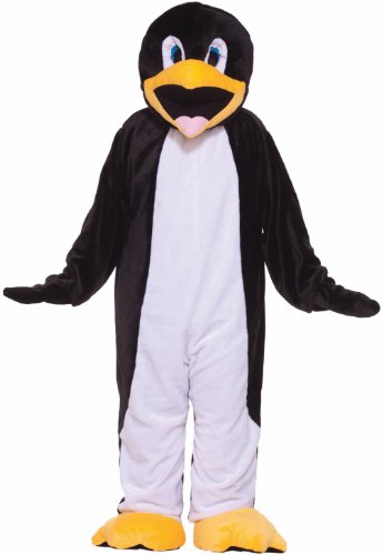 Forum Deluxe Plush Penguin Mascot Costume, Black/White, One Size