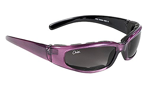 Pacific Coast Chix Rally Grey Gradient/Purple Padded Motorcycle - Glasses For Women Motorcycle