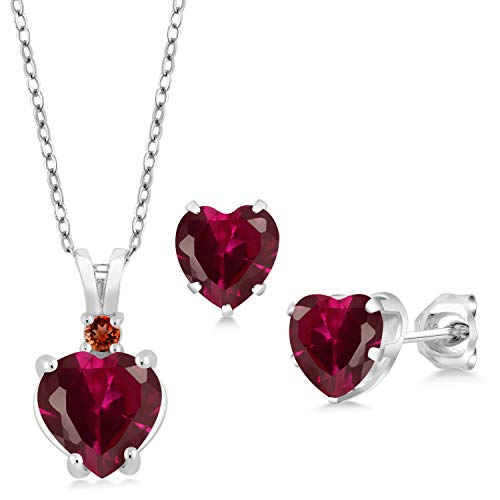 (Gem Stone King 3.71 Ct Heart Shape Red Created Ruby 925 Sterling Silver Pendant Earrings Set)