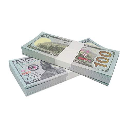 Real Hundred Dollar Bill (ELM Game Prop Money Play Money Pretend Dollar Bills $10,000 Full Print Money Copy of $100 Dollar Bills Stack, for Movie, TV, Videos, Pranks, Birthday Party, Play Board Games,)