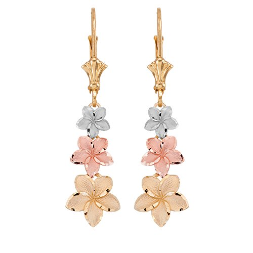 (Elegant 14k Tri-Color Gold Hawaiian Plumeria Flower Leverback Earrings )