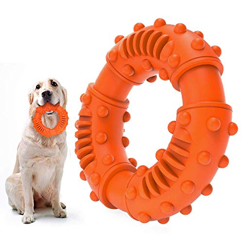 ABTOR Ultra Durable Dog Chew Toy – Toughest Natural Rubber – Texture Nub Dog Toys for All Aggressive Chewers Large Dogs Puppy – Fun to Chew, Dental Care, Training, Teething (A-Orange)