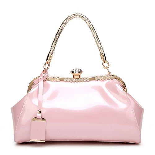 à Main pour Color Tsutou Femme à Brillant en Sac Coquille Verni Cuir Pink Blue w01qS0