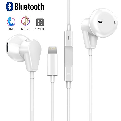 iPhone 8 Earbuds & Earphone, GMW Wired Bluetooth iPhone Lightning Headphone with Microphone Stereo Sound + Volume Control Compatible with Apple iPhone X / 8/7 / 6 / Plus and iPad by GMW