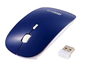 SOONGO 2.4G USB Slim Computer Optical Mouse Wireless for Laptop Plug and Play for Mac, Linux, Windows - Blue
