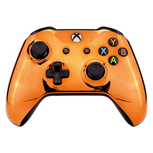 eXtremeRate Chrome Orange Edition Front Housing Shell for Xbox One Wireless Controller Model 1708, Replacement Custom Faceplate Cover for Xbox One S & Xbox One X Controller - Controller NOT Included