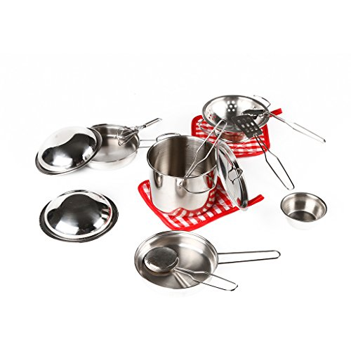 Vidatoy My First Play Kitchen Toys Pretend Cooking Toy Stainless Cookware Playset For Kids (Play Pots And Pans Set compare prices)