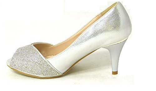 SKO'S Womens Ladies Wedding Diamante Prom Low Mid High Heel Bridal Court Shoes Size Silver (80367-06) AaJ9N