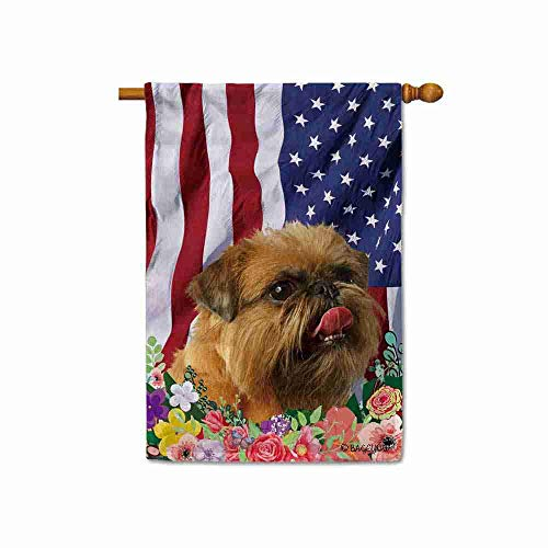 BAGEYOU American Flag with My Love Dog Brussels Griffon 4th of July Patriotic Decoraive House Flag for Outside Colorful Flowers Summer Home Decor Banner 28x40 Inch Printed Double Sided (Furniture Queensland Outdoor)