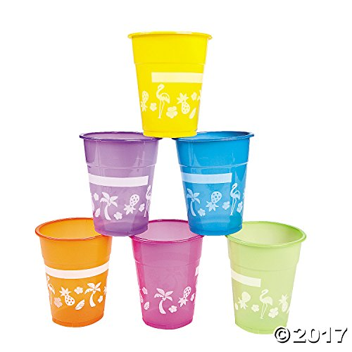 Lot of 50 Plastic Disposable Luau Party 16oz Cups Asst Bright Colors by Fun Express