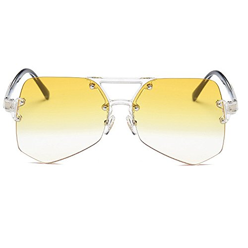claro UV viaje para hombres para de mujeres Gafas de Unisex sol Personalidad de de de conducción protección colorida Irregular transparente Retro gran gafas de la esquí marco sin Amarillo de gafas sol tamaño qZBRgwp