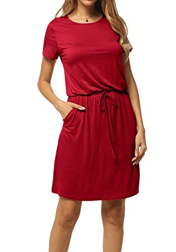 levaca Women's Plain Short Sleeve Tie-Belt Casual Short Dress with Pockets Wine - Dress Waist Tie