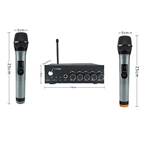 archeer bluetooth wireless microphone system for karaoke machine with 1 4 mic jack vhf dual. Black Bedroom Furniture Sets. Home Design Ideas