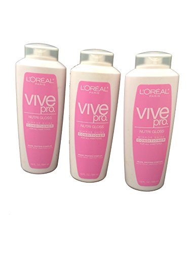 Price comparison product image Pack of 3: L'Oreal Paris Vive Pro Nutri Gloss Conditioner, Mirror Shine, for all Hair Types, 13 Fluid Ounce