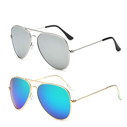 YOSHYA Aviator Sunglasses for Mens Womens Mirrored Sun Glasses Shades with Uv400 (Silver + Gold Green) -