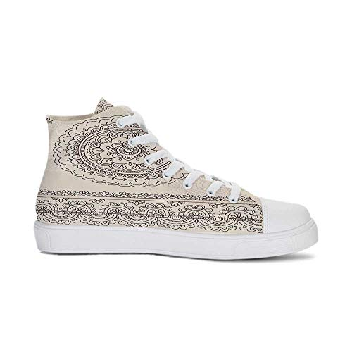 Henna Durable High Top Canvas Shoes,Floral Tattoo Design Inspirations from Asian Civilizations Doodle Style Soft Colored Decorative for Men,US 12