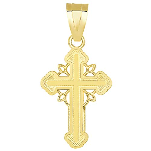 14k Yellow Gold Dainty Greek Orthodox Cross Charm Pendant