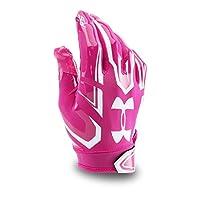 Guantes de fútbol F5 Under Armour para hombre, Tropic Pink /White, Mediano