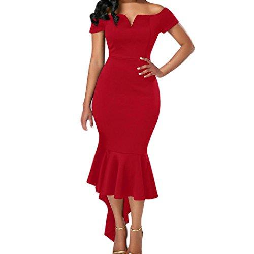 Robe Haut Courtes Manches Robes La Moulante Midi de de Longue Rouge Sirne Longue Robe Robe Off Femmes Covermason Cocktail Soire qUxBnFp