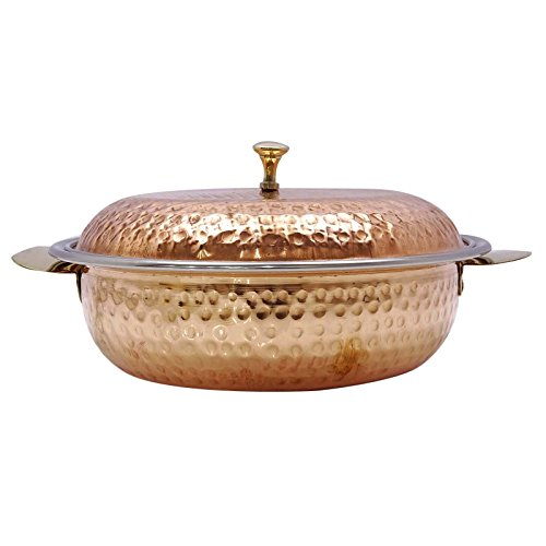 Traditional Hammered Bowl Donga Lid Dish Casserole Serveware Hotelware Utensil (Hammered Casserole)