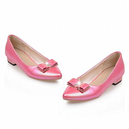 Show Shine Womens Fashion Sweet Bow Pointed Toe Loafers Shoes Peach 7XYoz2DY1