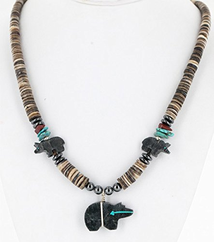 - Carved Bear Certified Authentic Navajo .925 Sterling Silver Graduated Melon Shell, Turquoise and Jasper Native American Necklace