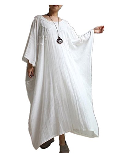 [Yesno T01 Women White Long Embroidery Dress Arab Caftan Casual Maxi Oversize Large Loose Skirt 3/4 Bat-wing Sleeve] (Arab Embroidery)